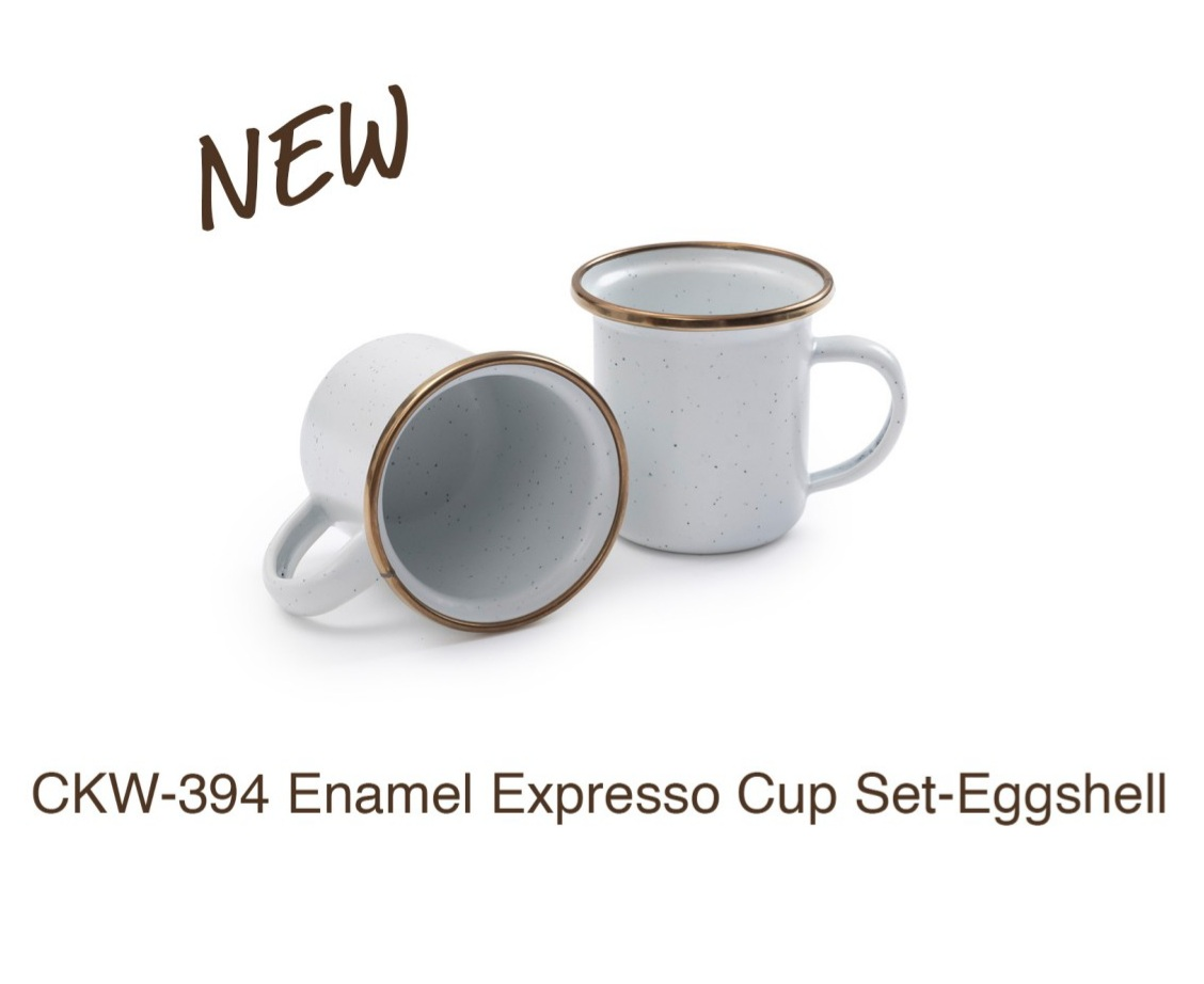 ENAMEL ESPRESSO CUP SET OF 2 (EGGSHELL)